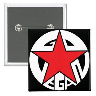 GO VEGAN - Propaganda Style 2 Button