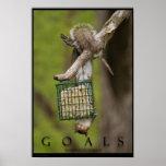 GOALS Inspirational Funny Squirrel Poster Print