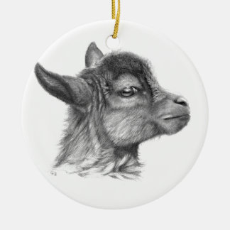Goat G099 Baby Round Ceramic Decoration
