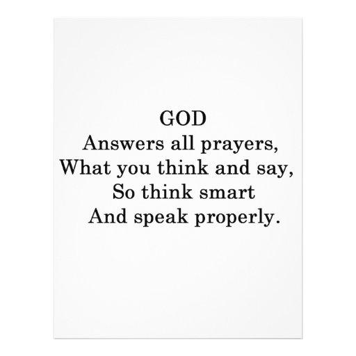 GOD ANSWERS ALL  PRAYERS CUSTOM FLYER