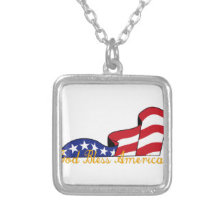 God Bless America Square Pendant Necklace