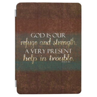 God is our Refuge Christian Bible Verse Brown/Gold iPad Air Cover