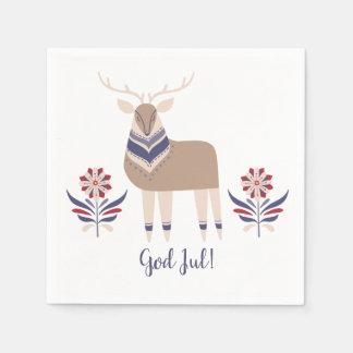 God Jul Deer and Flowers Nordic Design Christmas | Disposable Napkins