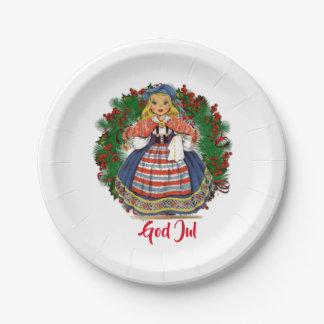 God Jul Merry Christmas Swedish Retro Doll Paper Plate