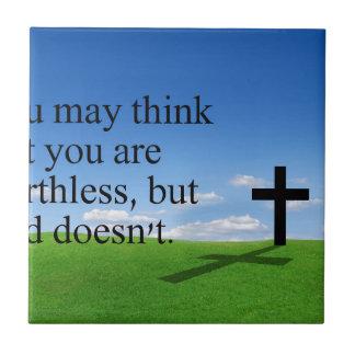 God loves you small square tile