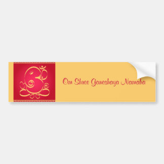 God  Om Ganesha on red Bumper Sticker