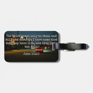"""God Quotes: Phil 4:8 -- """"Beware the Thief"""" Luggage Tag"""