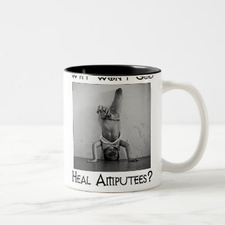 God vs Amputees 2 Two-Tone Coffee Mug
