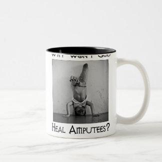 God vs Amputees 2 Two-Tone Mug