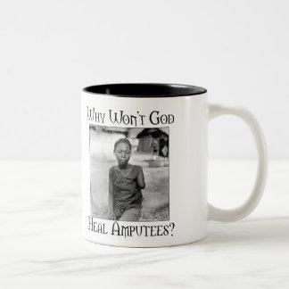 God vs Amputees Two-Tone Coffee Mug
