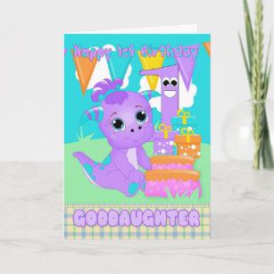 Goddaughter 1st Birthday Cute Little Monster Card