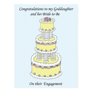 Goddaughter and bride to be on engagement. postcard