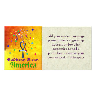 Goddess Bless America Personalized Photo Card