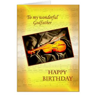 Godfather birthday card with a violin