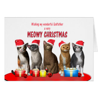 Godfather, Cats in Christmas hats Card
