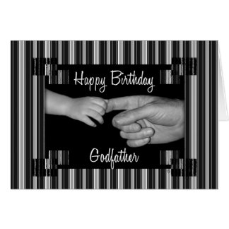 Godfather's Birthday Black with Pinstripes Card