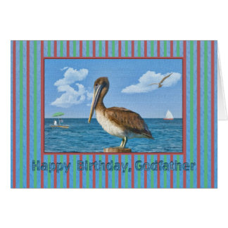 Godfather's Birthday Card with Brown Pelican
