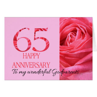Godparents Anniversary Card Pink Rose