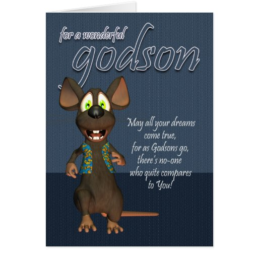 Godson Birthday Card - With Funky Mouse