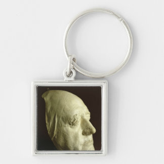 Goethe's Mask, 1807 Silver-Colored Square Key Ring