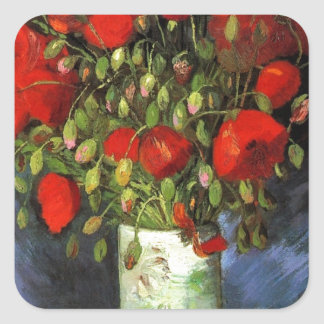 Gogh Poppies Flowers Blossoms Painting Art Garden Square Sticker