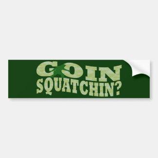 Goin squatchin? text & green camo bumper sticker