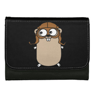 Golang aviator gopher Medium Faux Leather Wallet