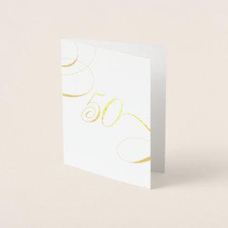 Gold 50 Calligraphy Milestone Birthday Anniversary Foil Card
