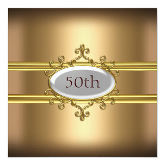 gold 50th Birthday Anniversary Card