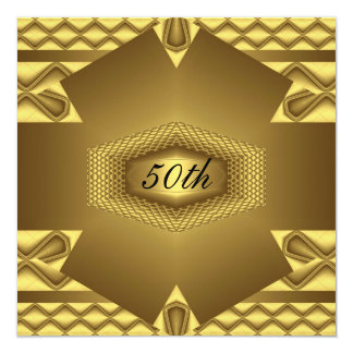 gold 50th Birthday Party  Invitation Anniversary