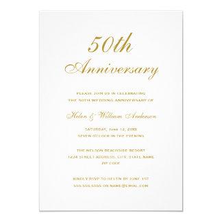 Gold 50th Wedding Anniversary Invitations