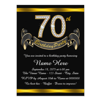 Gold 70th Birthday Party Card