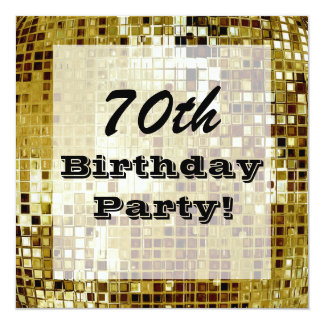 Gold 70th Or Any Age Birthday Party Invitation