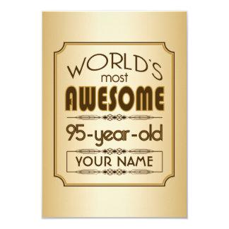 Gold 95th Birthday Celebration World Best Fabulous 3.5x5 Paper Invitation Card