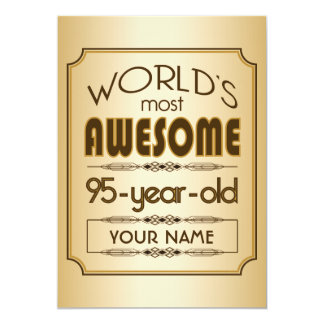 Gold 95th Birthday Celebration World Best Fabulous 5x7 Paper Invitation Card