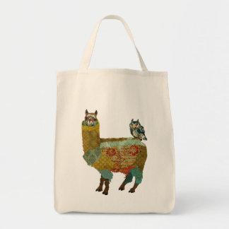 Gold Alpaca & Blue Owl Bag
