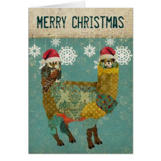 Gold Alpaca & Owl Christmas Card