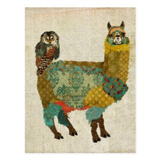 Gold Alpaca Teal Owl Postcard