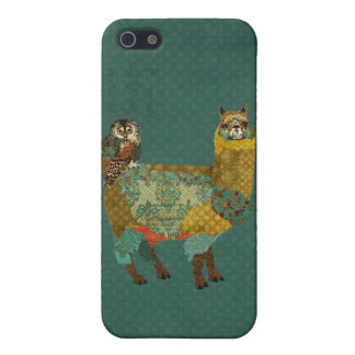 Gold Alpaca & Teal Owl Retro Blue  iPhone Case iPhone 5 Cover