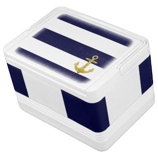 Gold anchor nautical stripes chilly bin