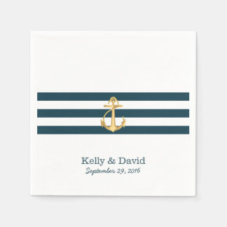 Gold Anchor Navy Blue Stripes Nautical Wedding Disposable Serviette