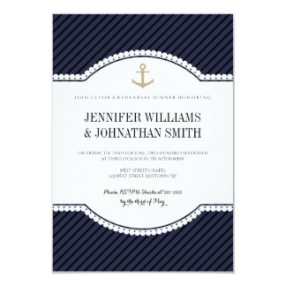 Gold anchor navy rehearsal dinner invitations