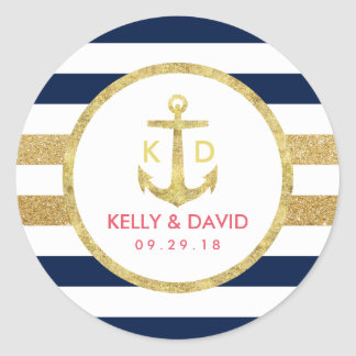 Gold Anchor Navy Stripes Nautical Wedding Favor Round Sticker