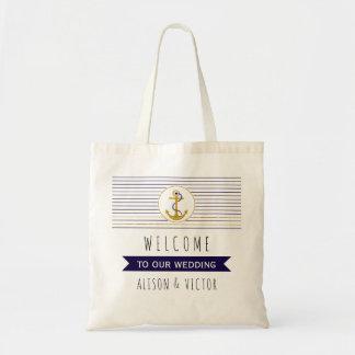 Gold anchor stripes nautical wedding welcome bag