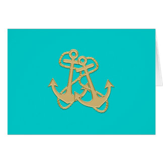 Gold Anchors Turquoise Folded Blank Note Card