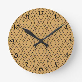 Gold and Black Art Deco Pattern Round Clock
