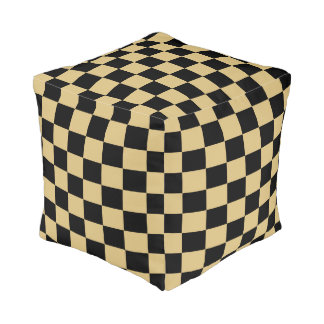 Gold and Black Checked Pouf