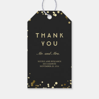 Gold and Black Confetti Elegant Wedding