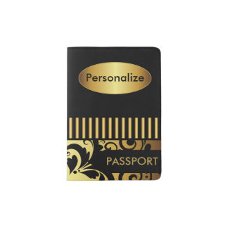 Gold and Black Decorative Pattern Passport Holder