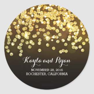 Gold and Black - Diamonds Glitter Wedding Round Sticker